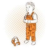 Gioco di Little Boy Materiale illustrativo variopinto dell'annata di vettore Fotografia Stock Libera da Diritti