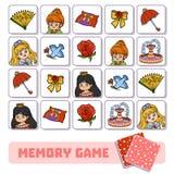 Gioco di memoria per i bambini, le carte di vettore con principessa e gli oggetti illustrazione di stock