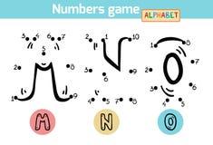 Gioco di numeri (alfabeto): lettere m., N, O illustrazione vettoriale