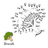 Gioco di numeri: frutta e verdure (broccoli) Fotografie Stock