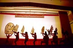 Gioco di ombra dei burattini di Nang Yai a Wat Khanon National Museum, Ratcha Buri Tailandia Fotografia Stock