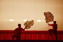 Gioco di ombra dei burattini di Nang Yai a Wat Khanon National Museum, Ratcha Buri Tailandia Fotografie Stock