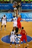 Gioco di pallacanestro Fotografie Stock