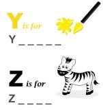 Gioco di parola di alfabeto: colore giallo e zebra Fotografia Stock