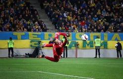 Gioco 2016 di partita di spareggio dell'EURO dell'UEFA Ucraina contro la Slovenia Immagini Stock