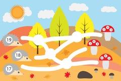 Gioco di per la matematica per i bambini, istrici del vantaggio attraverso il labirinto alle amanite corrette, gioco per i bambin immagini stock