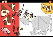 Gioco di puzzle della mucca dell'azienda agricola del fumetto Fotografia Stock