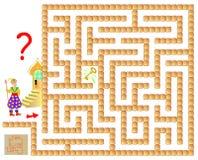 Gioco di puzzle di logica con il labirinto per i bambini e gli adulti Aiuti lo stregone a trovare la chiave Immagini Stock