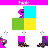 Gioco di puzzle Gioco educativo visivo per i bambini Foglio di lavoro per i bambini prescolari Illustrazione di vettore robot royalty illustrazione gratis