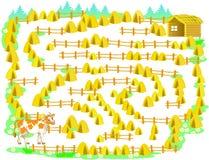 Gioco di puzzle di logica con il labirinto per i bambini e gli adulti Aiuti la mucca a riuscire a penetrare la stalla Immagine Stock