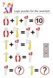 Gioco di puzzle di logica matematica affinchè la necessità più astuta calcolino valore degli attrezzi Pagina stampabile per il li illustrazione di stock
