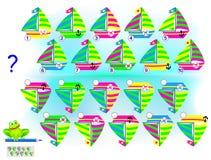 Gioco di puzzle di logica per i bambini e gli adulti Trovi la riflessione corretta di ogni barca a vela e scriva i loro numeri royalty illustrazione gratis