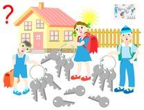 Gioco di puzzle di logica Tutti i bambini hanno gli insiemi identici di quattro chiavi Quale delle chiavi ciascuna dei bambini ha illustrazione vettoriale