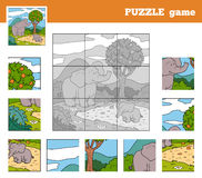 Gioco di puzzle per i bambini con gli animali (elefante) Fotografia Stock