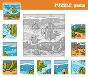 Gioco di puzzle per i bambini con gli animali (famiglia di pesce) Immagini Stock Libere da Diritti