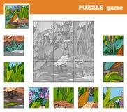 Gioco di puzzle per i bambini con gli animali (quaglia) Immagine Stock