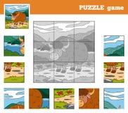 Gioco di puzzle per i bambini con gli animali (yak) Fotografie Stock Libere da Diritti