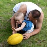 Gioco di rugby Fotografie Stock