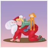 Gioco di Santa con il bambino Immagine Stock