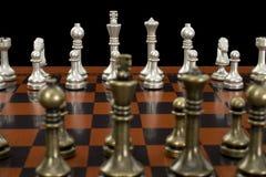 Gioco di scacchi con il fuoco sulle parti chiare Fotografia Stock Libera da Diritti