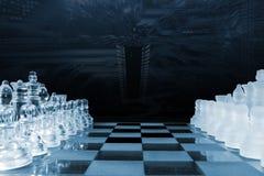 Gioco di scacchi giocato da intelligenza artificiale Immagine Stock