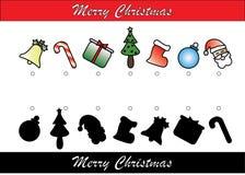 Gioco di tema di corrispondenza dell'ombra di Natale fotografia stock libera da diritti