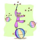 Gioco disegnato a mano del burlone con la palla Fotografia Stock