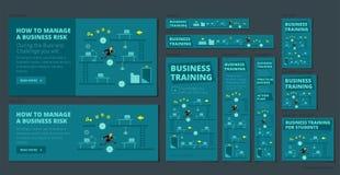 Gioco e concorrenza di formazione di affari Un insieme delle insegne tutte le dimensioni standard per il web Versione blu scuro royalty illustrazione gratis