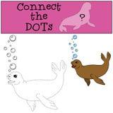 Gioco educativo: Colleghi i punti Piccole nuotate sveglie della guarnizione illustrazione vettoriale