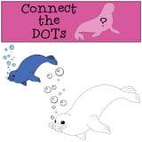 Gioco educativo: Colleghi i punti Piccole nuotate sveglie della guarnizione illustrazione di stock