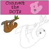 Gioco educativo: Colleghi i punti Piccolo bradipo sveglio del bambino illustrazione vettoriale