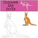 Gioco educativo: Colleghi i punti Piccolo canguro sveglio illustrazione di stock