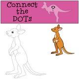 Gioco educativo: Colleghi i punti Piccolo canguro sveglio del bambino royalty illustrazione gratis