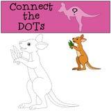 Gioco educativo: Colleghi i punti Piccolo canguro sveglio del bambino illustrazione di stock