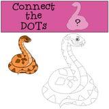 Gioco educativo: Colleghi i punti Piccolo vipera sorridente sveglia illustrazione di stock