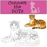 Gioco educativo: Colleghi i punti Sorrisi macchiati svegli del giaguaro royalty illustrazione gratis