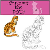 Gioco educativo: Colleghi i punti Sorrisi macchiati svegli del giaguaro illustrazione vettoriale