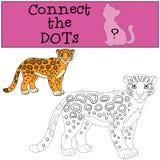 Gioco educativo: Colleghi i punti Sorrisi macchiati svegli del giaguaro illustrazione di stock