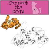 Gioco educativo: Colleghi i punti Sorrisi svegli del giaguaro del bambino illustrazione di stock