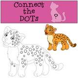 Gioco educativo: Colleghi i punti Sorrisi svegli del giaguaro del bambino royalty illustrazione gratis