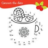 Gioco educativo dei bambini Colleghi i punti dai numeri Punto per punteggiare pagina il nuovo anno, Natale beve illustrazione di stock