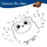Gioco educativo dei bambini Colleghi i punti dai numeri Punto per punteggiare pagina Tema degli animali, gufo sveglio royalty illustrazione gratis