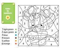 Gioco educativo dei bambini Pagina di coloritura con la pianta del cactus Colore dai numeri, attività stampabile per i bambini royalty illustrazione gratis