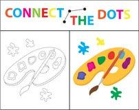 Gioco educativo dei bambini s per le capacità motorie Colleghi l'immagine dei punti Per i bambini dell'età prescolare illustrazione di stock
