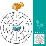 Gioco educativo del labirinto del pesce sveglio Illustrazione di vettore del labirinto per i bambini illustrazione vettoriale