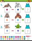 Gioco educativo dell'aggiunta di per la matematica con gli animali Fotografia Stock Libera da Diritti