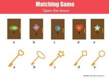 Gioco educativo di corrispondenza dei bambini Abbini le chiavi e le porte, imparanti l'attività geometrica dei bambini di forme illustrazione di stock