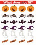 Gioco educativo di Halloween per i bambini, che cosa non si adatta Immagini Stock Libere da Diritti