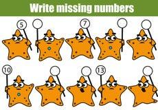 Gioco educativo di matematica per i bambini Scriva i numeri mancanti illustrazione di stock