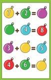 Gioco educativo di per la matematica per i bambini Conteggio delle equazioni Foglio di lavoro dell'aggiunta Fotografia Stock